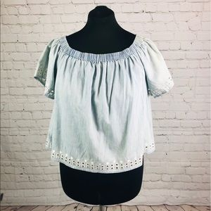 NWT Juicy Couture Light Vintage Wash Chambray Top